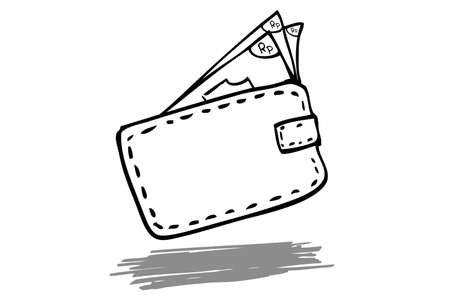 pouch: Illustration for Consumptive live Style, Money In The Wallet