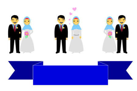 Bride Couple Muslim and Muslimah (Islam People) with Blue Ribbon Stock Photo