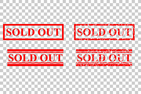 Four Style of Rubber Stamp, Sold Out, at Transparent Effect Background Banque d'images