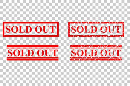 Vier Stijl Rubber Postzegel, Uitverkocht, Op Transparante Effect Achtergrond Stockfoto