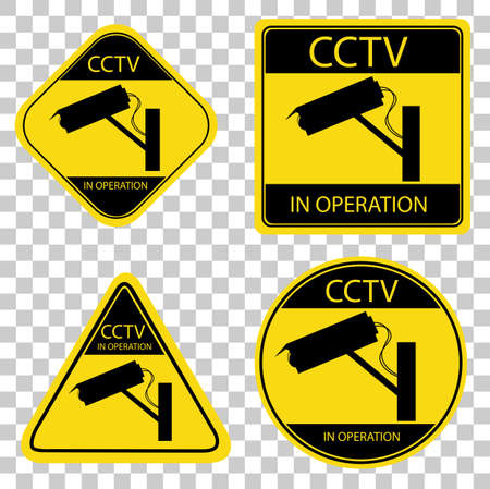 Set of CCTV Sign Stock Photo