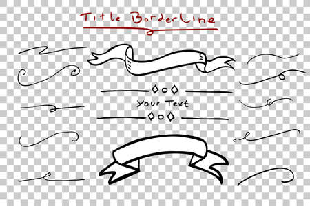 hand draw sketch of various wedding title border at transparent