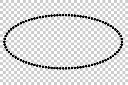 Oval Frame - Black Dots, Isolated on White