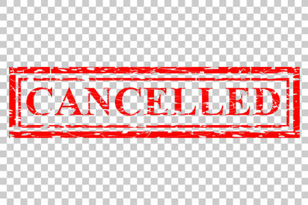 Various Rubber Stamp Effect : Cancelled at Transparent Effect Background Stockfoto