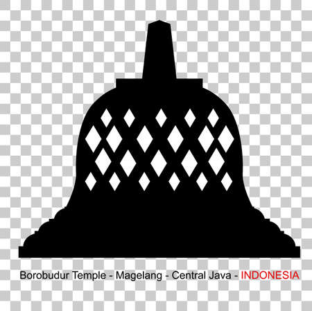 Silhouette Borobudur Temple, Indonesia Historical Building, at Transparent Effect Background