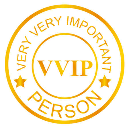 Golden Stamp VIP, Isolated on White Stock Photo