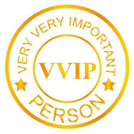 Gouden Postzegel VIP, Geïsoleerd op Wit Stockfoto - 88469918