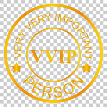 Golden Stamp VIP, at Transparent Effect Background Stock Photo