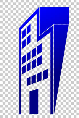 Gradient Blue Perspective of Office or Hotel Building, at Transparent Effect Background Stock Photo