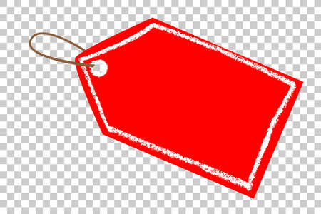 Red Blank Tag, White Crayon List, at Transparent Effect Background
