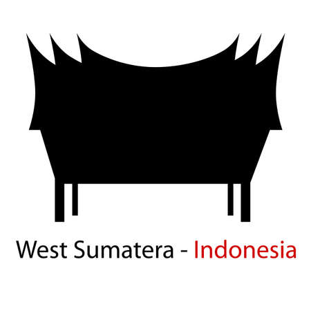 Silhouette West Sumatera, Indonesia Traditional Building Stock Photo
