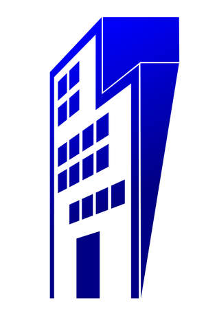 Logo Gradient Blue Perspective of Office or Hotel Building, Isolated on White Stock Photo