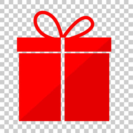 투명 효과 배경에서 간단한 빨간색 선물 상자 스톡 콘텐츠