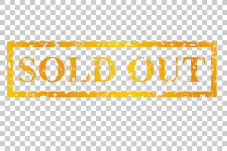 Gouden Postzegel, Uitverkocht, Op Transparante Effect Achtergrond
