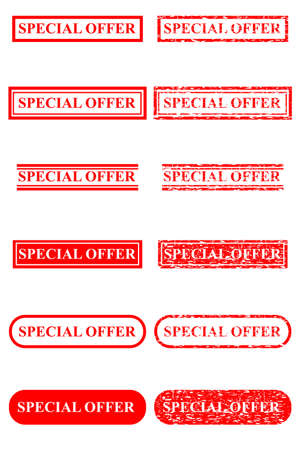 Set of Red Rubber Stamp Effect : Special Edition, Isolated on White Stock Photo