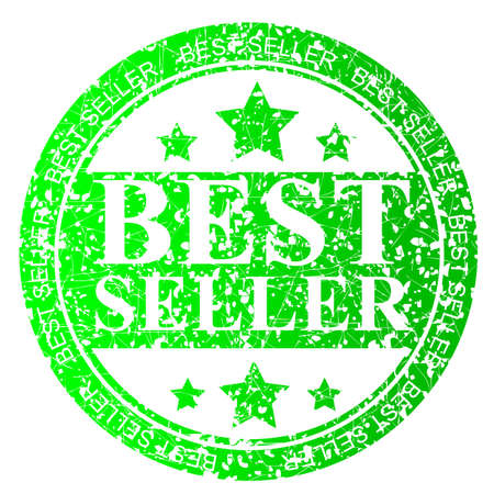 trusted: green,Circle Rubber Stamp : Best Seller, Isolated on White Stock Photo