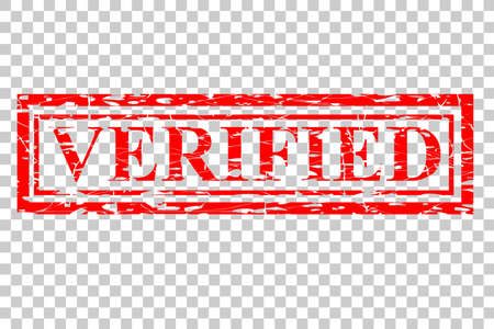 Rubber Stamp Effect - Verified, at Transparent Effect Background Stock Photo