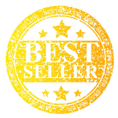 trusted: Yellow Circle Rubber Stamp : Best Seller, Isolated on White Stock Photo