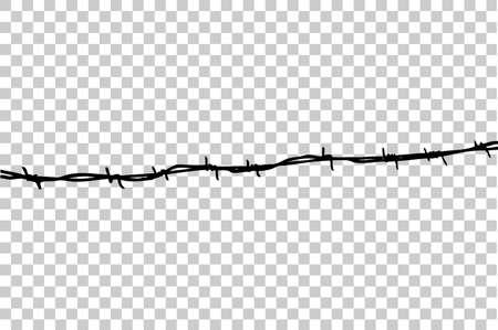 Hand Disegnare schizzo di filo spinato senza saldatura, a sfondo trasparente effetto Archivio Fotografico - 86369502