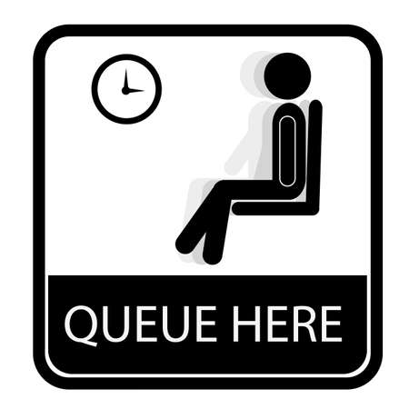 Queue Sign, Isolated on White