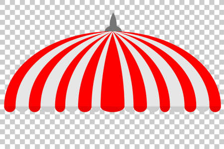 Canopy, half circle, red and white, at transparent effect background Stock Photo