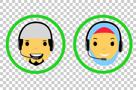 Muslim & Muslimah (man and Woman Islam) Call Center  at Transparent Effect Background Stock Photo