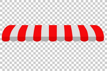 Luifel, rood en wit, op transparante achtergrond Stockfoto