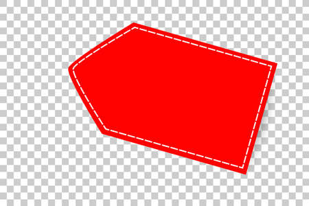 red shining blank tag, with white list, at transparent effect background