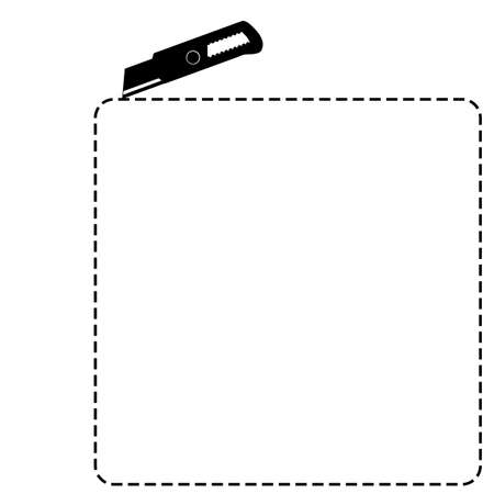 sign cut here, square shape, with cutter isolated on white