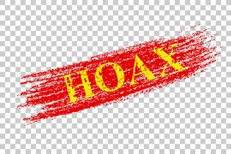 red crayon sign effect, hoax at transparent effect background
