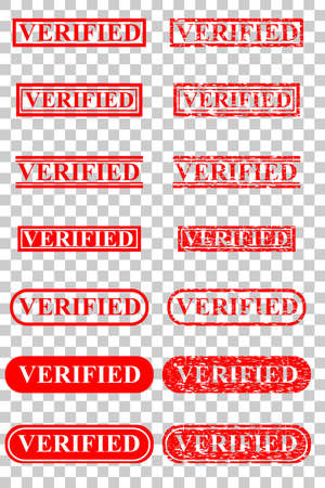 red rubber stamp effect - verified, at transparent Effect Background