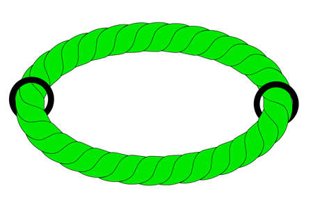 green blue rope out from hole Stock Photo