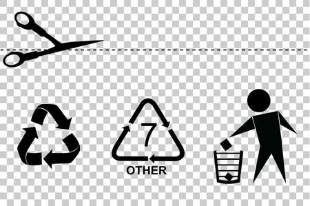 simple most famous sign at consumer goods product : cut Here, recycle, do not litter and recycle code (Seven), at transparent effect background