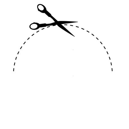 Sign Cut Here, With Scissor, Half of Oval Isolated on White
