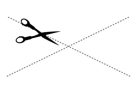 Sign Cut Here, Cross Shape With Scissor Isolated on White