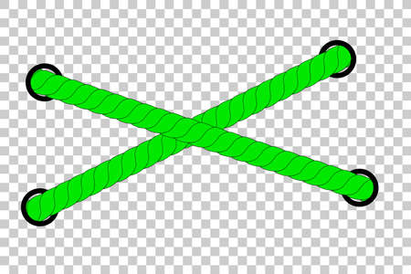 Green Rope out from hole, at Transparent Effect Background Foto de archivo