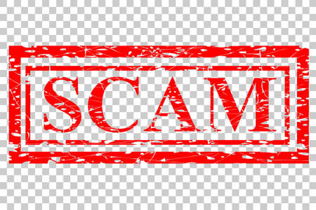 Red Rubber Stamp Effect : Scam, at Transparent Effect Background Stock Photo