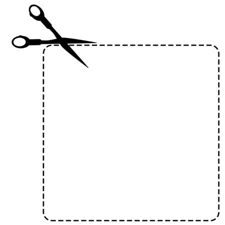 Sign Cut Here, Square Shape, With Scissor Isolated on White