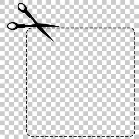 Sign Cut Here, with scissor, Square Shape, at Transparent Effect Background