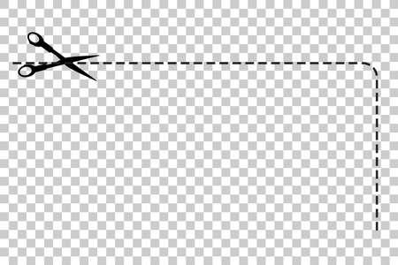ここでカットはさみ、半分の四角形、透明効果を背景での署名します。 写真素材