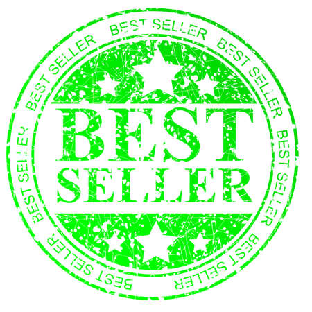 Green Circle Rubber Stamp : Best Seller, Isolated on White Stock Photo