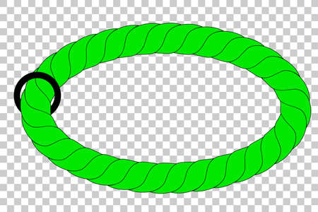 green Rope out from hole, at Transparent Effect Background Stock Photo