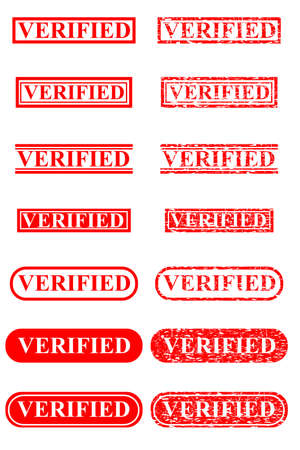 set of Red Rubber Stamp Effect - Verified, Isolated on White