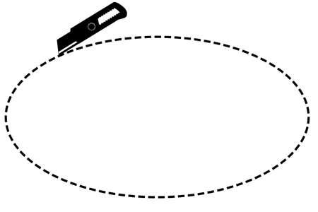 記号はここで、白で隔離カッターで楕円形をカット 写真素材