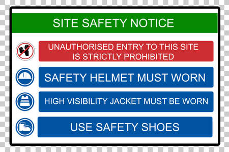 Site Safety Notice, at Transparent Effect Background Stock Photo
