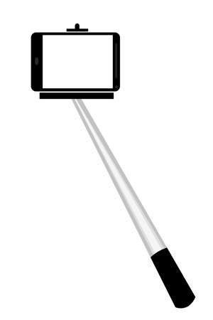 Selfie Stick, Isolated on White Stock Photo