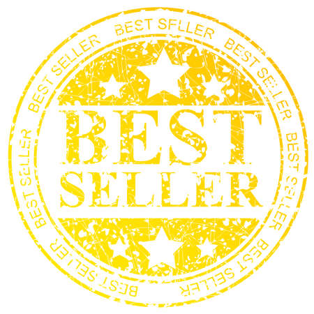 Golden Circle Rubber Stamp : Best Seller, Isolated on White Stock Photo