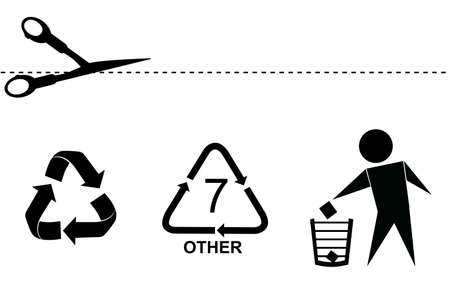 Most Famous Sign at Consumer Goods Product : Cut Here, Recycle, do Not Litter and Recycle Code (Seven) Stock Photo
