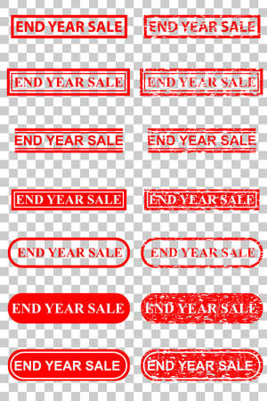 Various Style of Rubber Stamp Effect : End Year Sale, at Transparent Effect Background