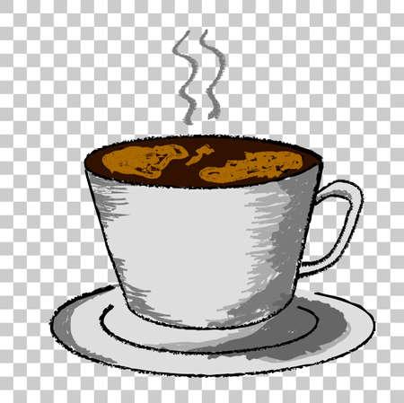 스케치 잔 뜨거운 음료, 투명 한 효과 배경에서